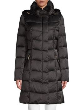Faux Fur Trimmed Down Puffer Coat by Tahari