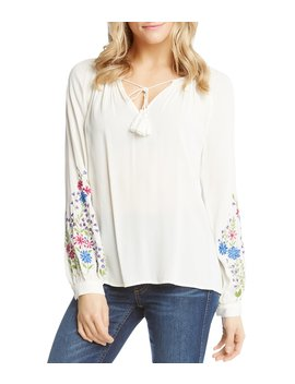 Embroidered Peasant Top by Karen Kane