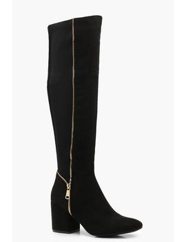 Block Heel Zip Trim Knee Boots by Boohoo