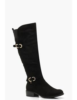 Buckle Detail Rider Boots by Boohoo