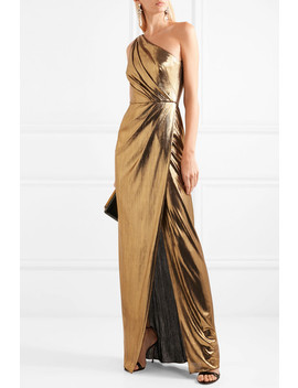 One Shoulder Draped Lamé Gown by Marchesa Notte