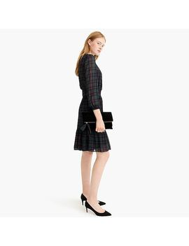Cinched Waist Dress In Black Watch Plaid Chiffon by J.Crew