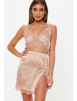 Pink Satin Extreme Slit Lace Mini Skirt by Missguided