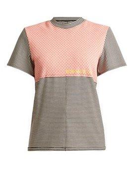 Round Neck Striped Cotton Blend T Shirt by Eckhaus Latta