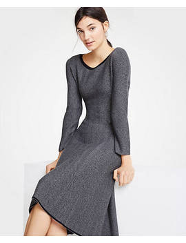 "<A Href=""Https://Www.Anntaylor.Com/Herringbone Flounce Sweater Dress/485871?Sku Id=26191867&Default Color=2222&Default Size=500&Price Sort=Desc"" Tabindex=""0"">Herringbone Flounce Sweater Dress</A> by Ann Taylor"