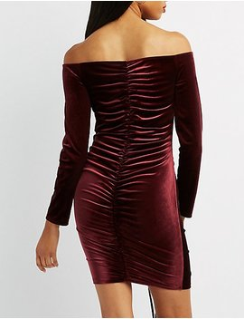 Velvet Off The Shoulder Ruched Dress by Charlotte Russe