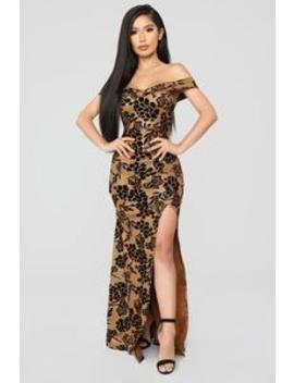 Roselyn Off Shoulder Floral Dress   Gold by Fashion Nova