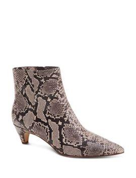 Women's Nettie Pointed Toe Leather Kitten Heel Booties by Splendid