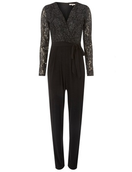 **Billie & Blossom Tall Black Glitter Jumpsuit by Dorothy Perkins