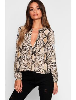 Snake Plunge Woven Smock Top by Boohoo