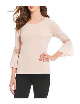 Lace Inset Flare Sleeve Knit Jersey Top by Calvin Klein