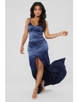 Into The Night Satin Dress   Navy by Fashion Nova