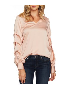 Puffed Long Gathered Sleeve Blouse by Ce Ce
