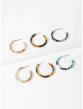 Marble Pattern Open Hoop Earrings 3pairs by Romwe