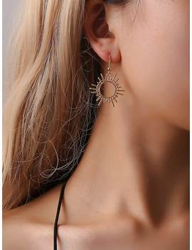 Hollow Sun Shaped Drop Earrings by Romwe