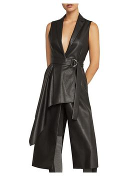 Draped Faux Leather Vest by Bcbgmaxazria