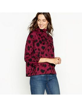 The Collection   Wine Red Animal Print High Neck Top by The Collection