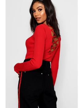 Lace Up Back Detail Slim Jumper by Boohoo