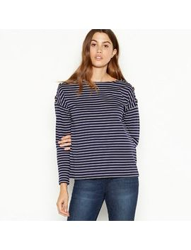 The Collection   Navy Cotton Breton Stripe Top by The Collection