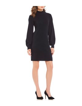 Luxury Collection Colette Cashmere Bishop Sleeve Mock Neck Sweater Dress by Antonio Melani