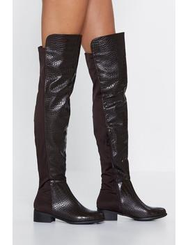 Scale It Back Knee High Boot by Nasty Gal
