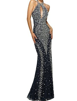Promworld Women's Halter Neck Key Hole Off The Shoulder Rhinestone Mermaid Evening Dress by Promworld