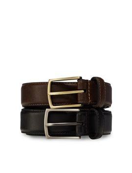 The Collection   Pack Of Two Black And Brown Leather Belts by The Collection