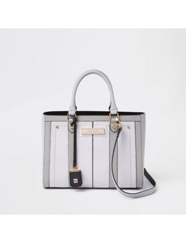 Light Grey Faux Leather Boxy Tote Bag by River Island
