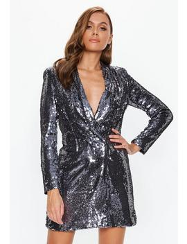 Silver Sequin Blazer Dress by Missguided
