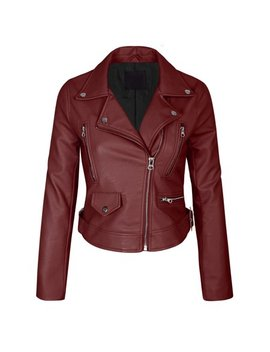 Kogmo Womens Double Breasted Faux Leather Zip Up  Jacket by Kogmo