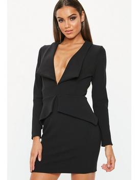 Black Tailored Collar Plunge Mini Dress by Missguided