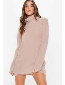 Petite Pink Basic Roll Neck Chunky Jumper by Missguided
