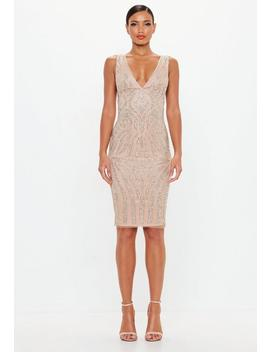 Peace + Love Nude Embellished Plunge Midi Dress by Missguided