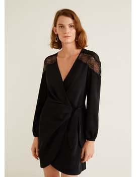 Lace V Neckline Dress by Mango
