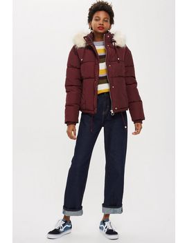 Fur Lined Quilted Puffer Jacket by Topshop