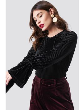 Striped Velvet Long Sleeve Top by Na Kd Party