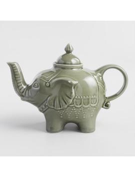 Green Reactive Glaze Elephant Teapot by World Market