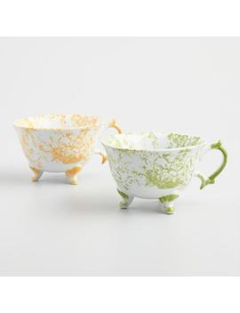 Hand Painted Toile Teacups Set Of 2 by World Market