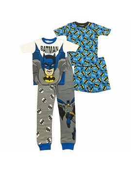 Dc Comics Batman Big And Little Boys 4 Pc Cotton Pajama Set by Ame