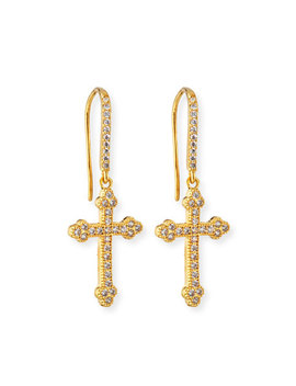 Micro Crucifix Earrings, Golden by Fallon