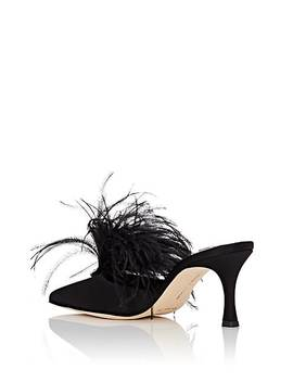 Isonza Feather & Satin Mules by Manolo Blahnik