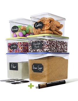 Chef's Path Large Food Storage Containers   Great For Flour, Sugar, Baking Supplies   Best Airtight Kitchen & Pantry Bulk Food Storage   Bpa Free   6 Pc Set & 8 Free Chalkboard Labels & Pen by Chef's Path