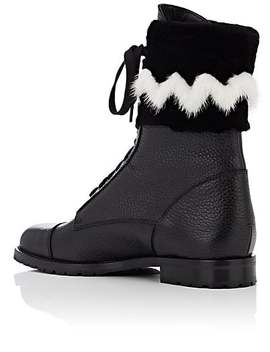 Campchafur Leather & Fur Ankle Boots by Manolo Blahnik