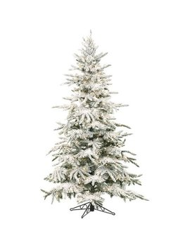 Fraser Hill Farm Pre Lit 9' Flocked Mountain Pine Artificial Christmas Tree, Clear Led Lighting by Christmas Trees With White Lights