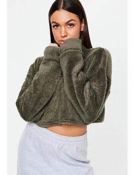 Khaki Borg Teddy High Neck Cropped Sweatshirt by Missguided