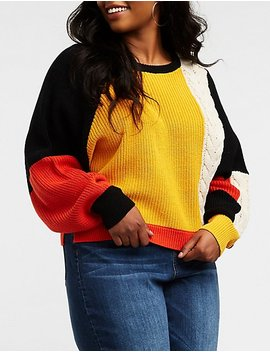 Plus Size Colorblock Cable Knit Pullover Sweater by Charlotte Russe