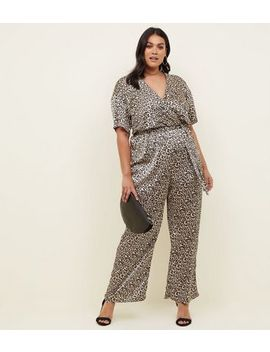 Curves Brown Leopard Print Satin Jumpsuit by New Look