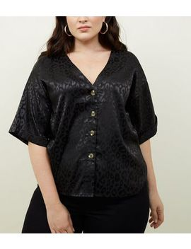 Curves Black Jacquard Button Through Front Shirt by New Look