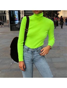 Aossilind Turtleneck Long Sleeve Autumn T Shirt Women Fluorescent Green Pullovers Winter Slim Streetwear Casual Tshirt Tops by Aossilind
