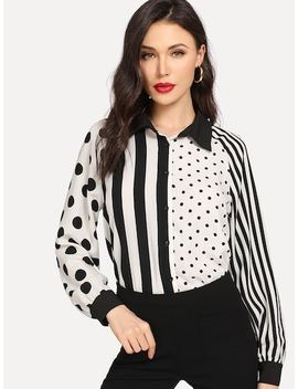 Two Tone Mixed Print Blouse by Shein